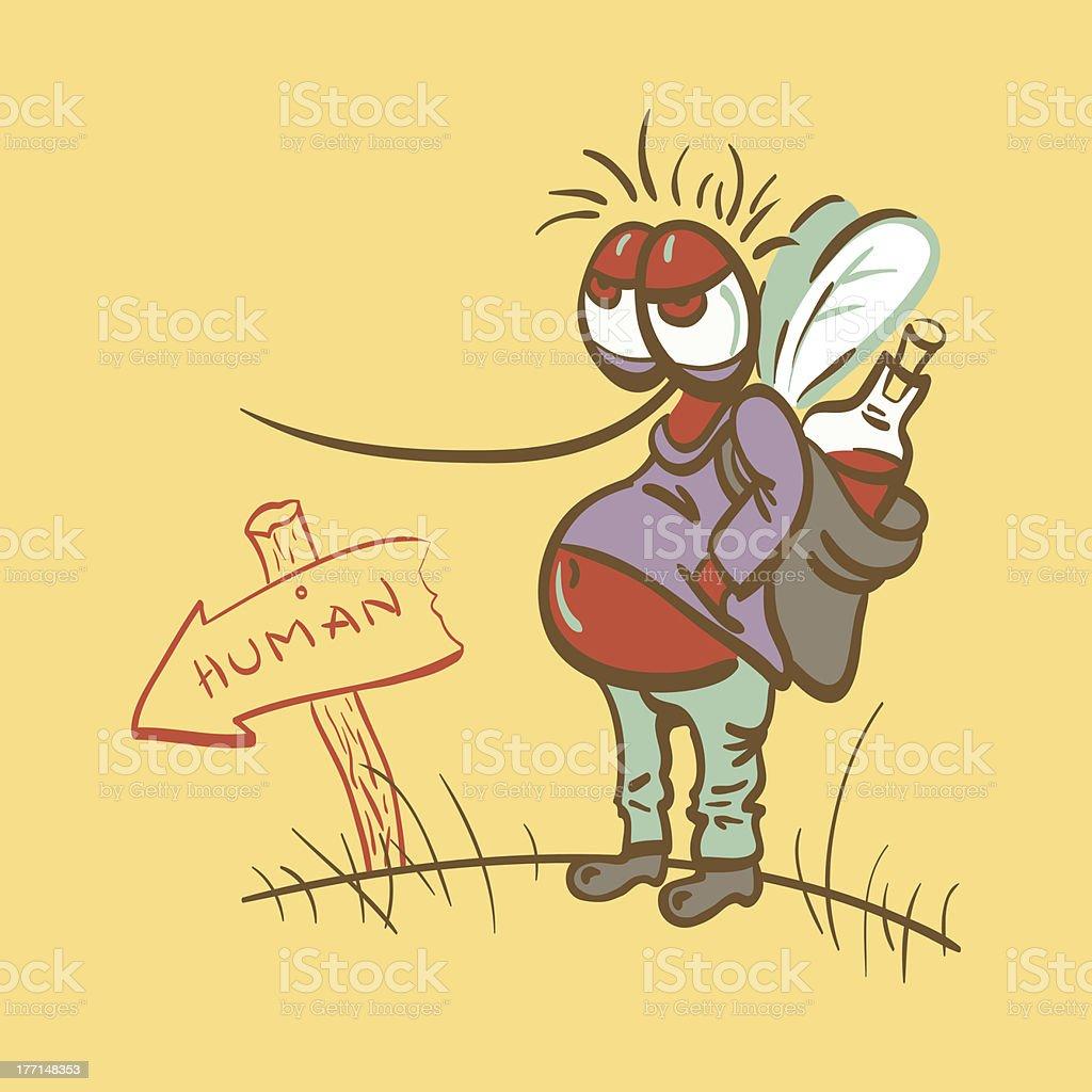 Mosquito Reveller Cartoon Vector Illustration royalty-free stock vector art