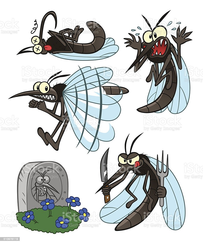 mosquito set vector art illustration