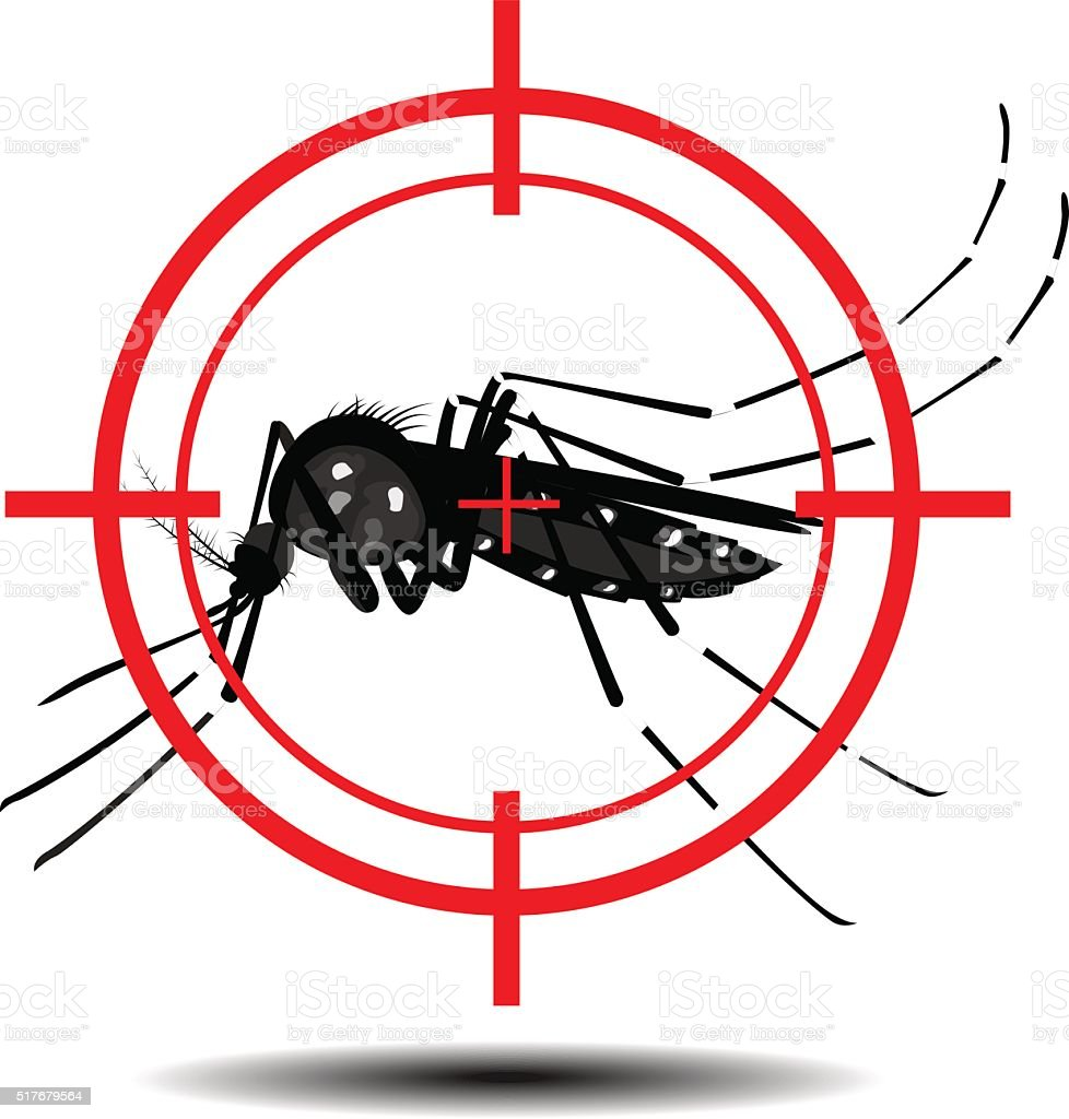 mosquitoes with mosquito target, flat design vector art illustration