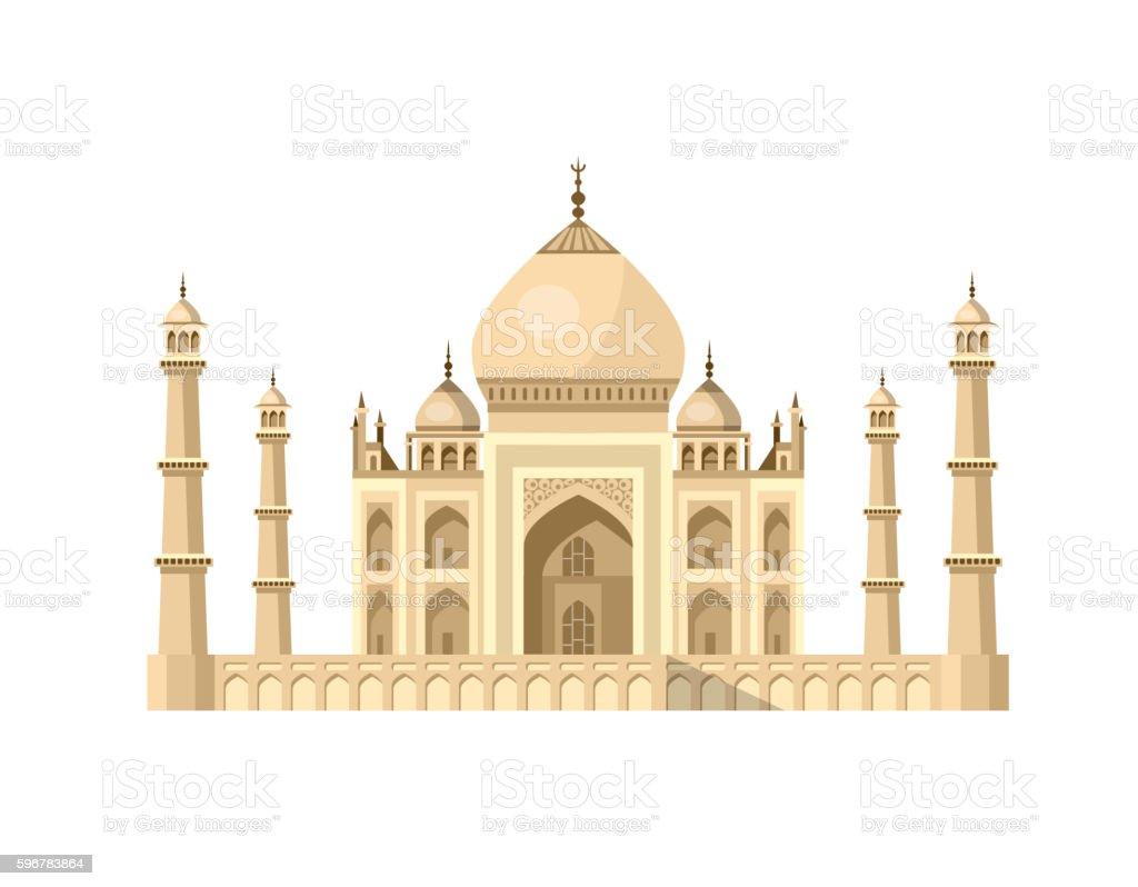 most famous World landmark. Vector illustration of Taj Mahal vector art illustration