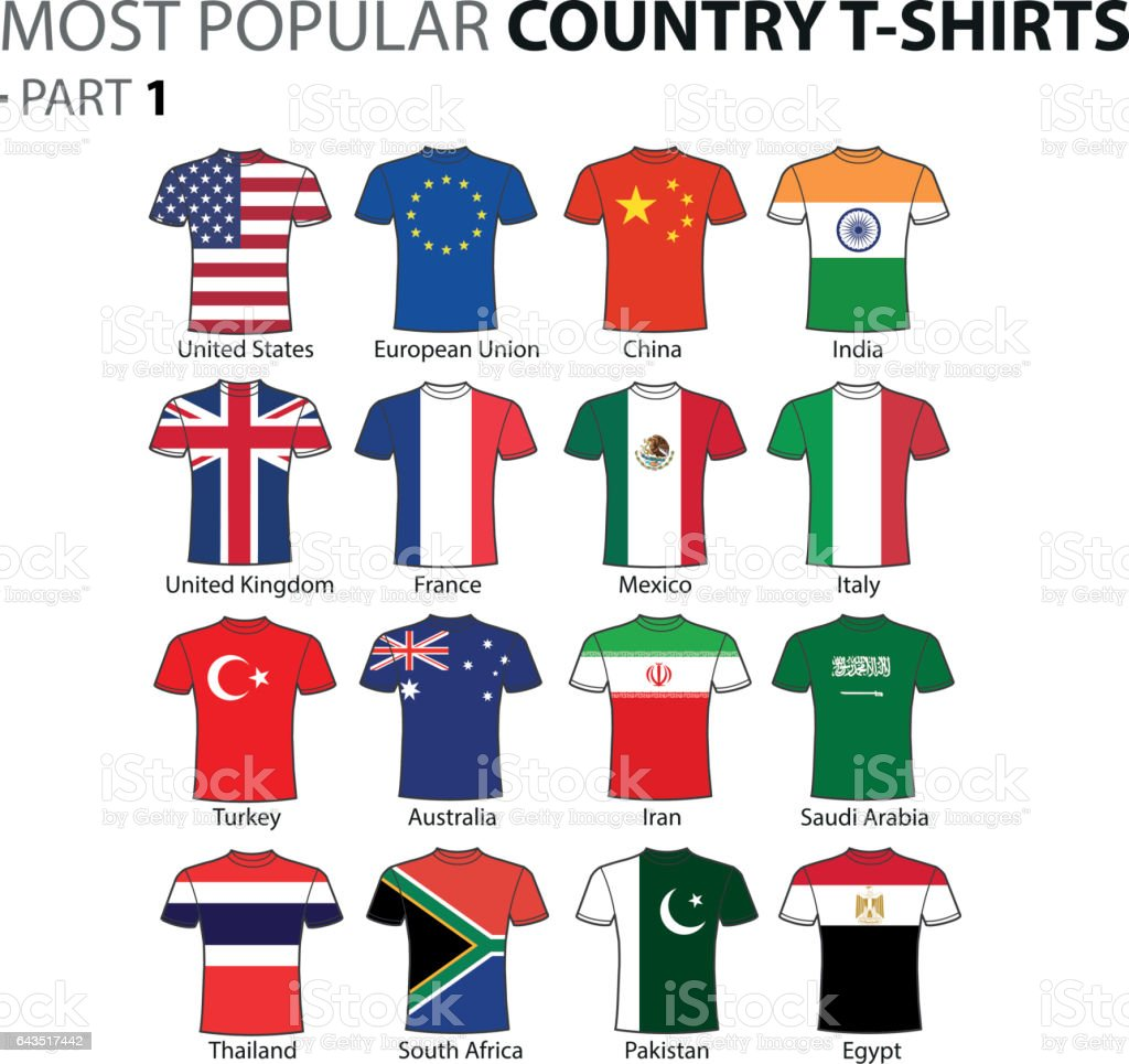 Most Popular Country T-shirts Part 1 vector art illustration