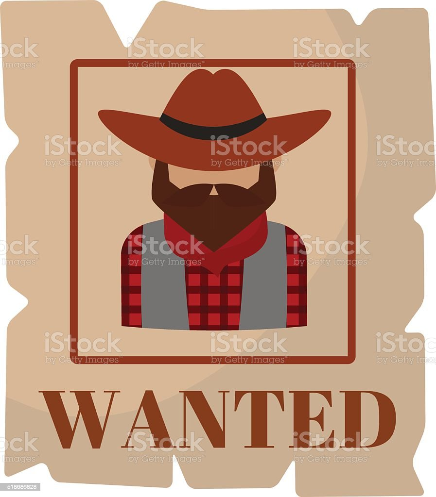 Most wanted man in hat poster concept grunge vector illustration vector art illustration