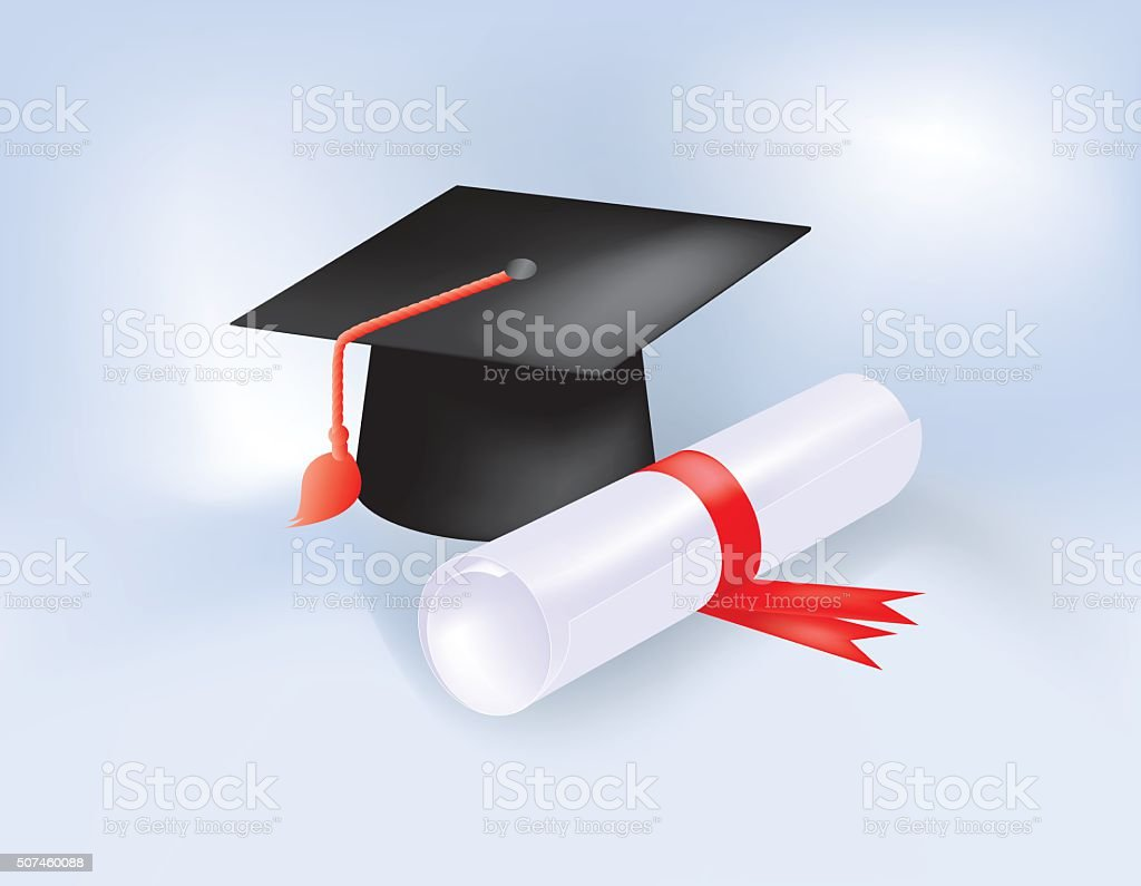 Motarboard and Diploma vector art illustration