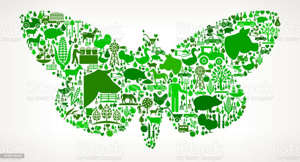 Moth Farming and Agriculture Green Icon Pattern vector art illustration