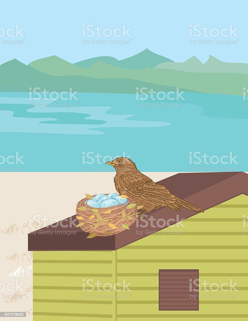 Mother And Babies on A Hut vector art illustration
