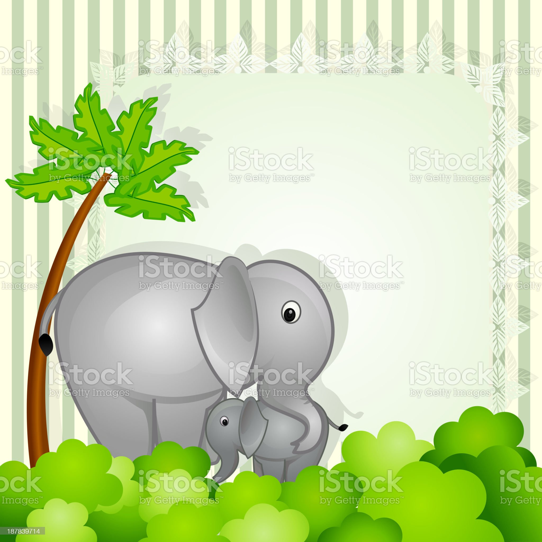 Mother and Baby Elephant royalty-free stock vector art
