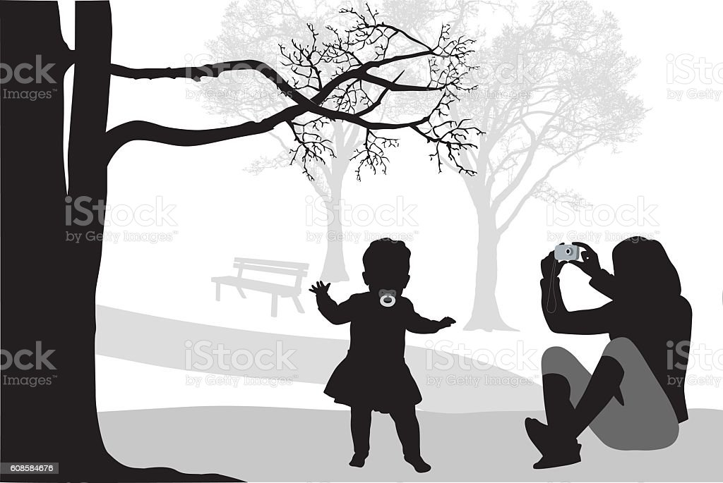 Mother And Baby Walking Vector Silhouette vector art illustration