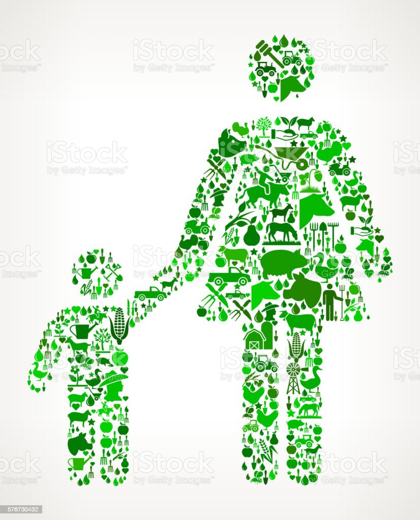 Mother and Boy Family Farming and Agriculture Green Icon Pattern vector art illustration