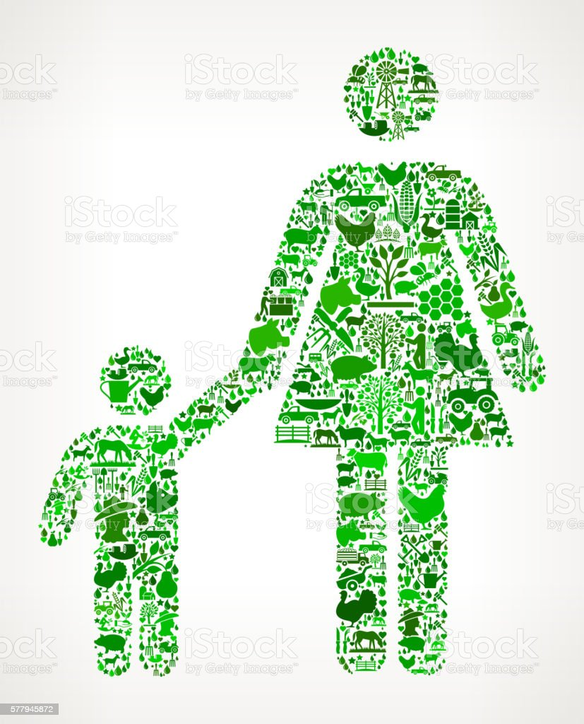 Mother and Boy Farming and Agriculture Green Icon Pattern vector art illustration