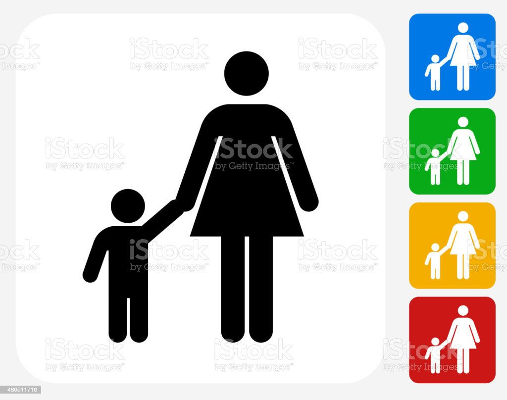 Mother and Boy Icon Flat Graphic Design vector art illustration