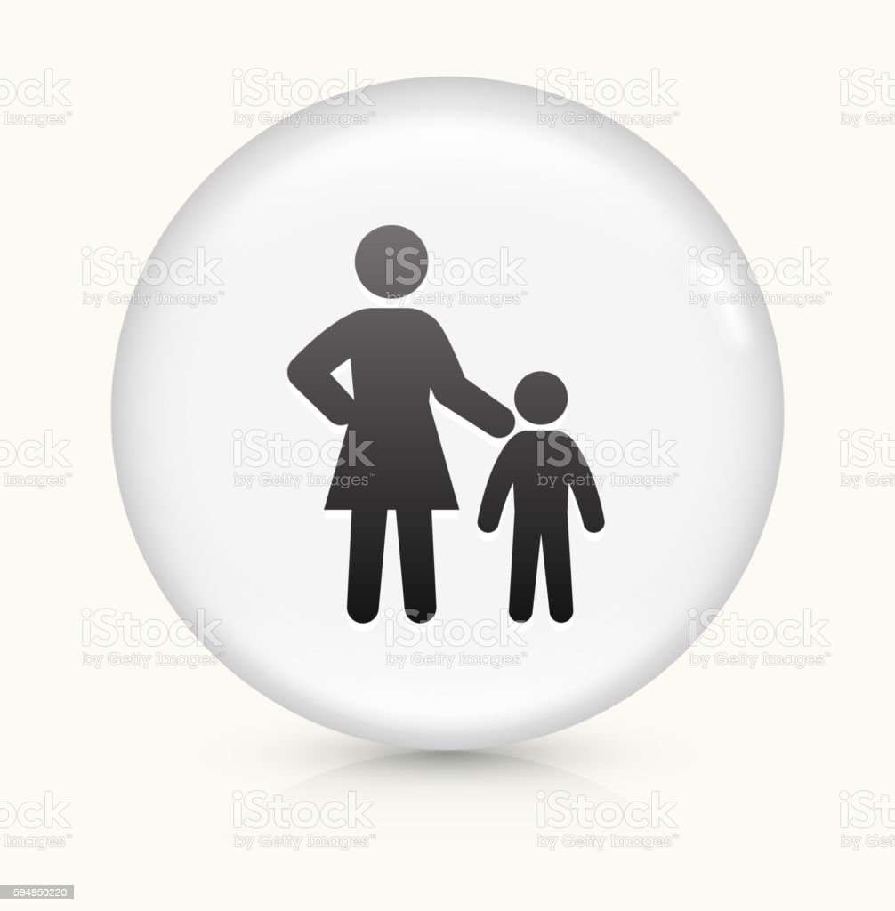 Mother and Child icon on white round vector button vector art illustration