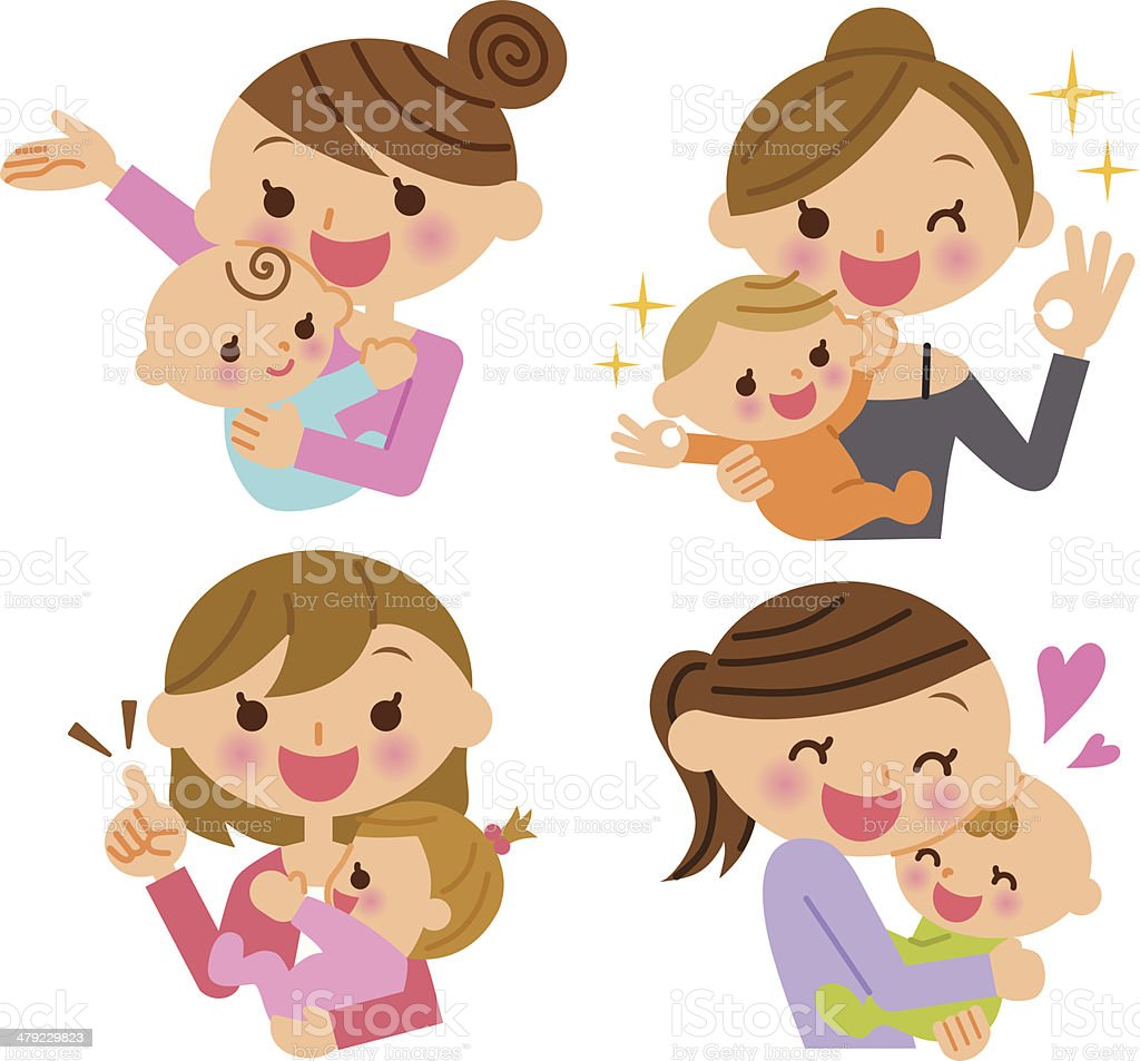 Mother and child illustration vector art illustration