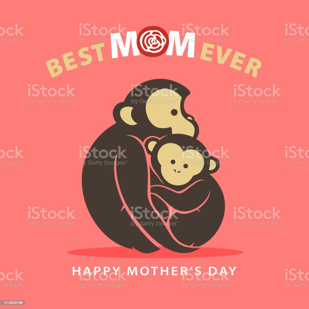Mother and Child Monkey vector art illustration