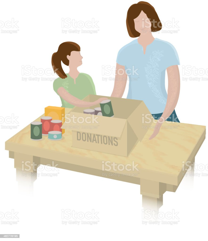 Mother and child packing a food donation box royalty-free stock vector art