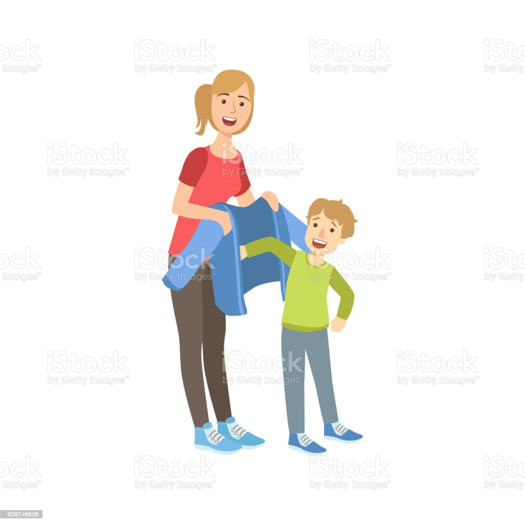 Mother And Child Preparing For Walk Together Illustration vector art illustration