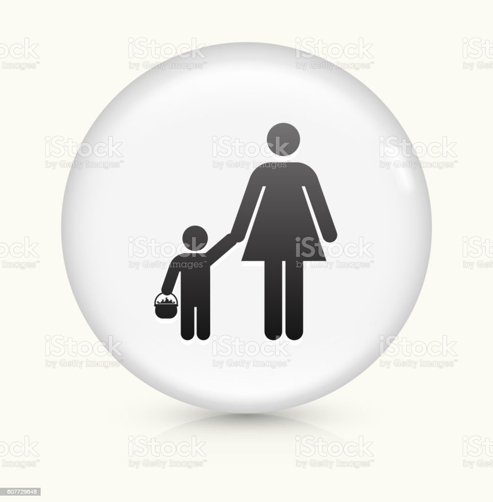 Mother and Child Trick-or-Treating icon on white round vector button vector art illustration