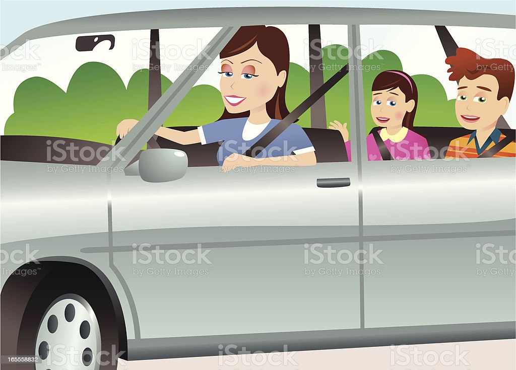 Mother and children in automobile royalty-free stock vector art