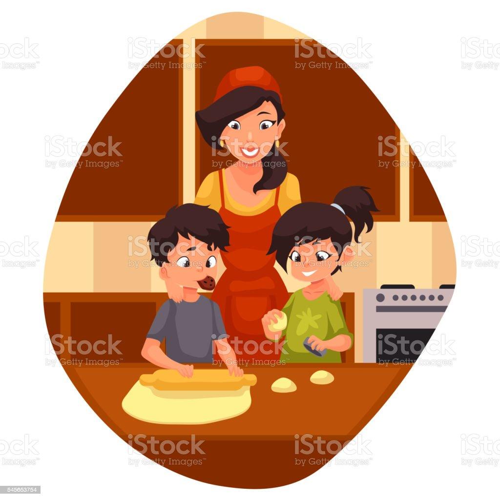 Mother and children preparing cookies in kitchen vector art illustration