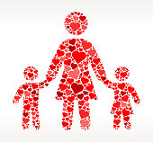 Mother and Children Red Hearts Love Pattern