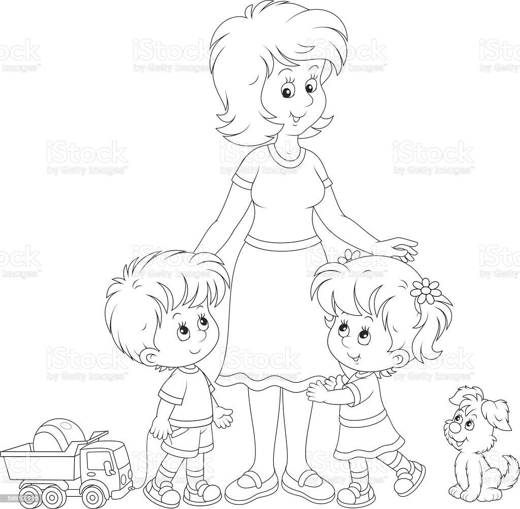 Mother and children vector art illustration