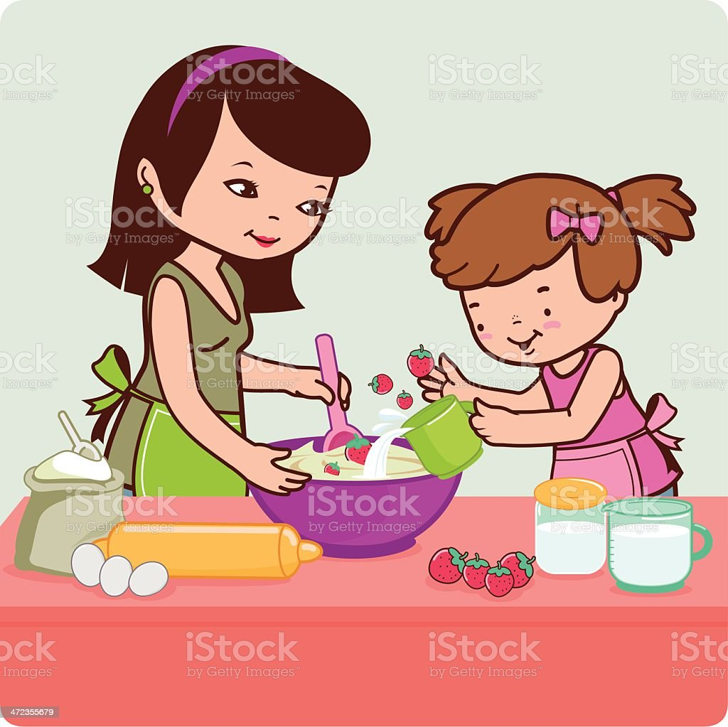 Mother and daughter cooking in the kitchen royalty-free stock vector art