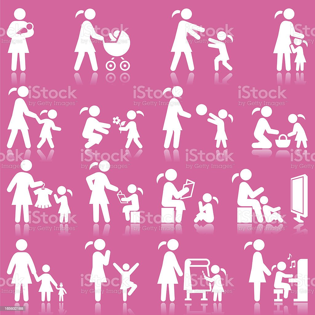 Mother and Daughter family time pink & white icon set vector art illustration