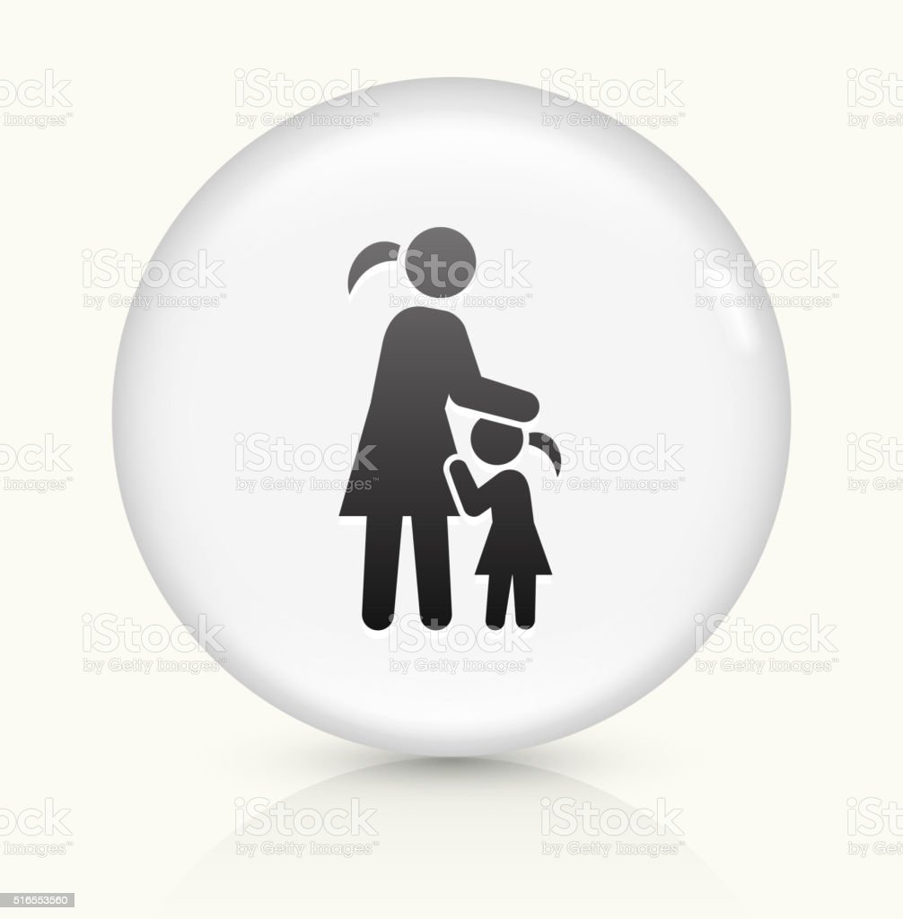 Mother and Daughter icon on white round vector button vector art illustration