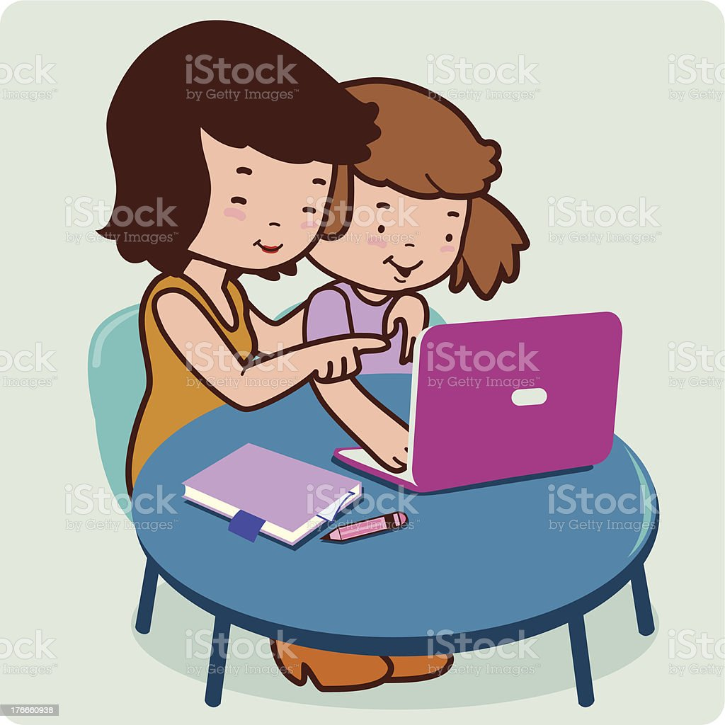 Mother and daughter on the computer royalty-free stock vector art
