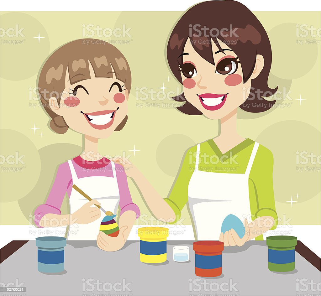 Mother and Daughter Painting royalty-free stock vector art
