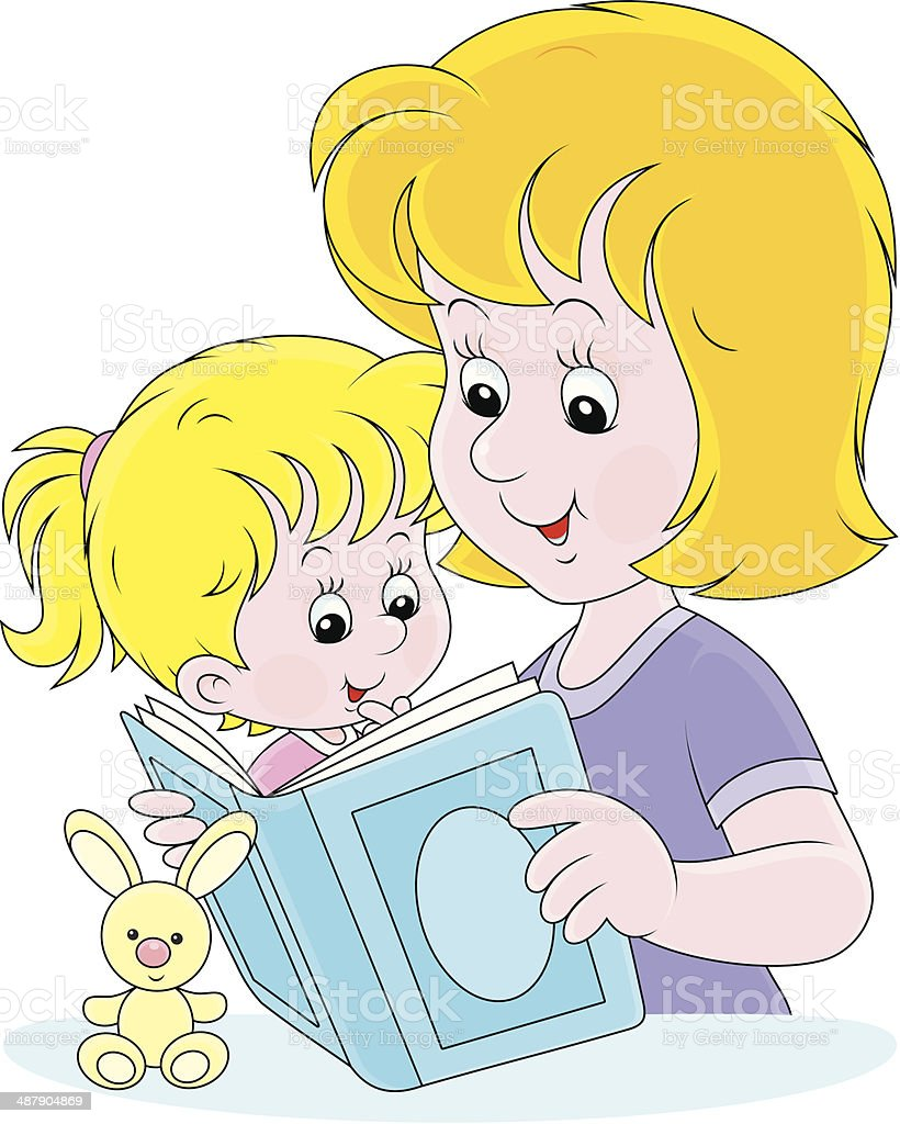 Mother and daughter reading royalty-free stock vector art
