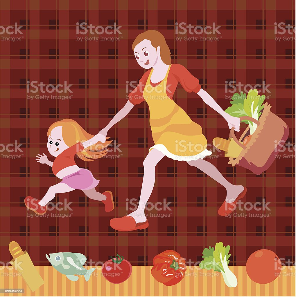 mother and daughter  shopping for groceries on seamless background vector art illustration