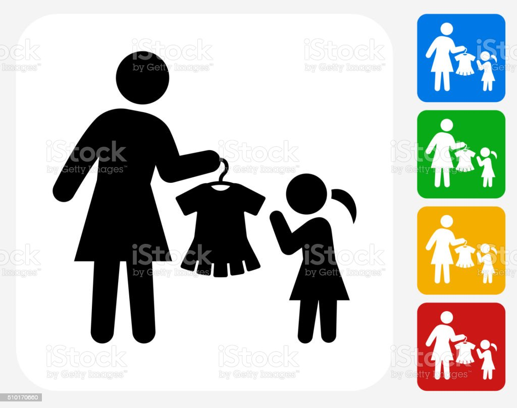 Mother and Daughter Shopping Icon Flat Graphic Design vector art illustration