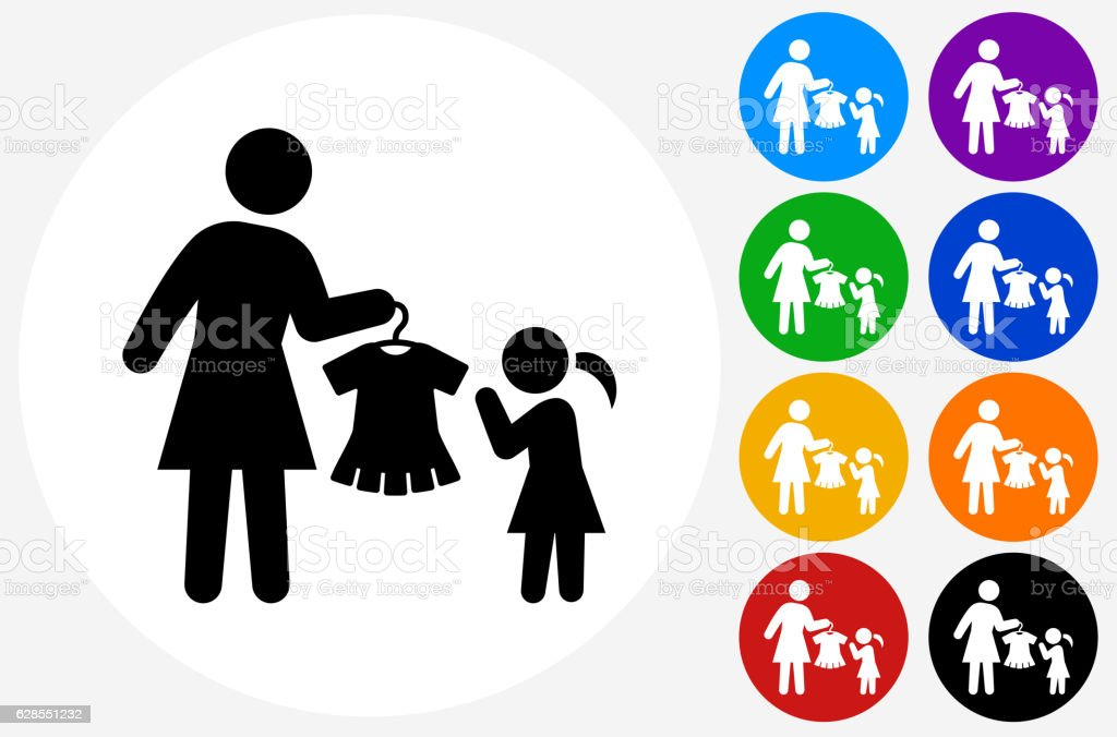 Mother and Daughter Shopping Icon on Flat Color Circle Buttons vector art illustration