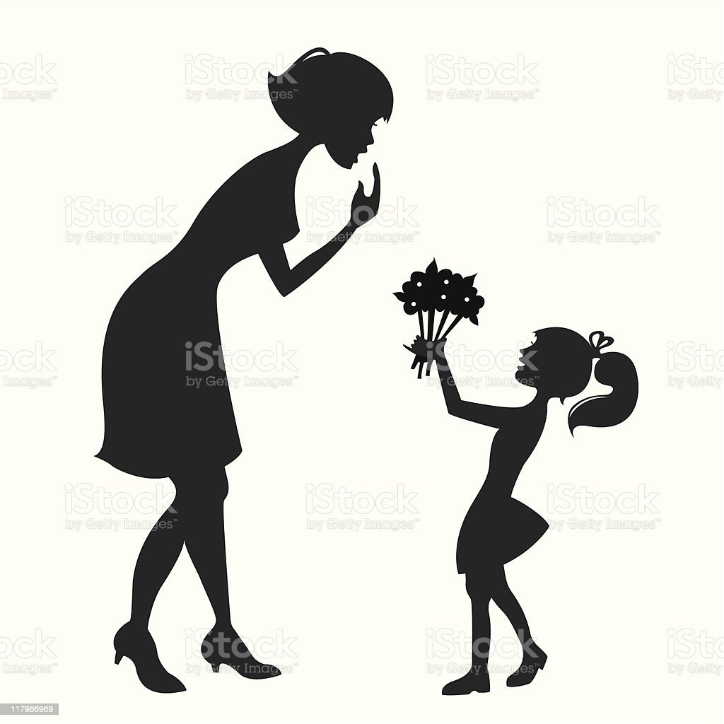Mother and Daughter (vector) royalty-free stock vector art