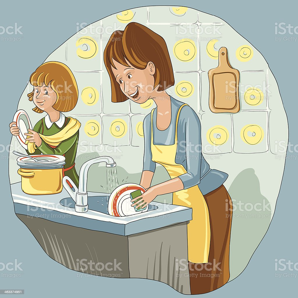 Mother and daughter washing the dish vector art illustration