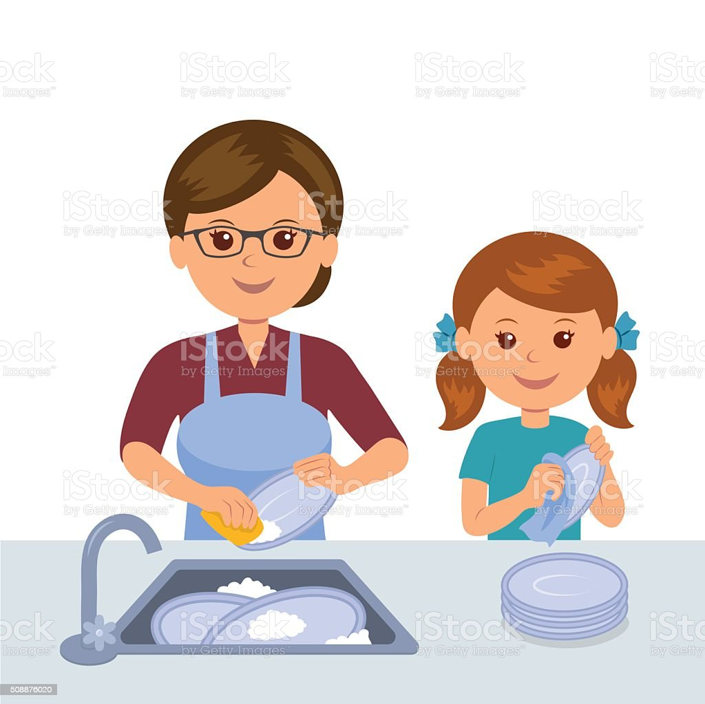 Mother and daughter washing the dishes. vector art illustration