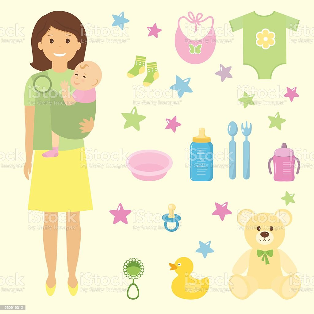 Mother and her child in sling ring vector art illustration
