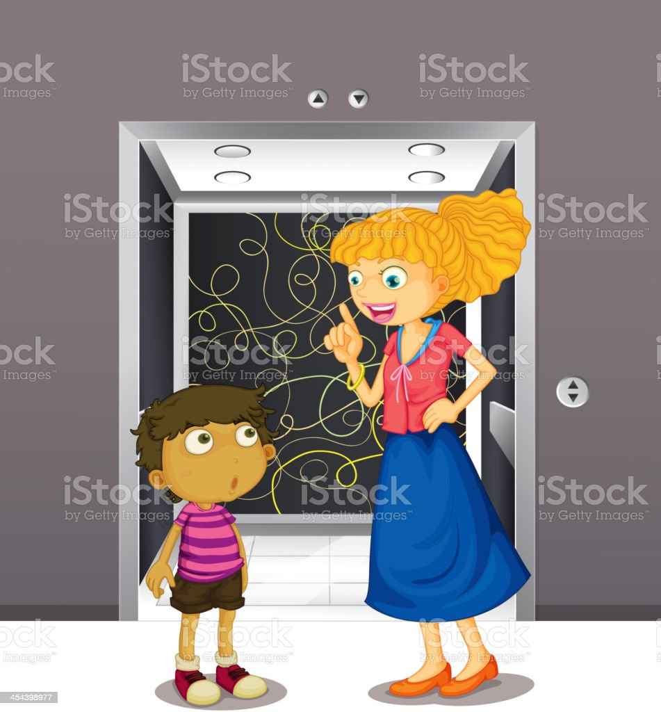 Mother and his son at the elevator royalty-free stock vector art