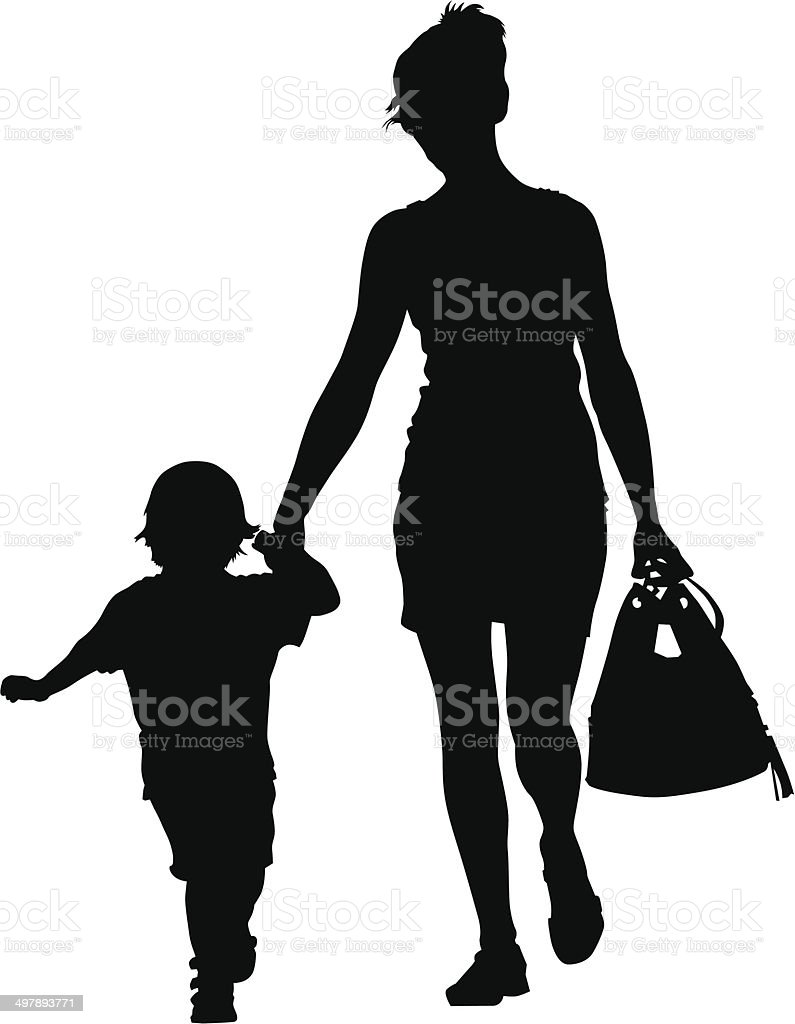 Mother and little boy vector art illustration
