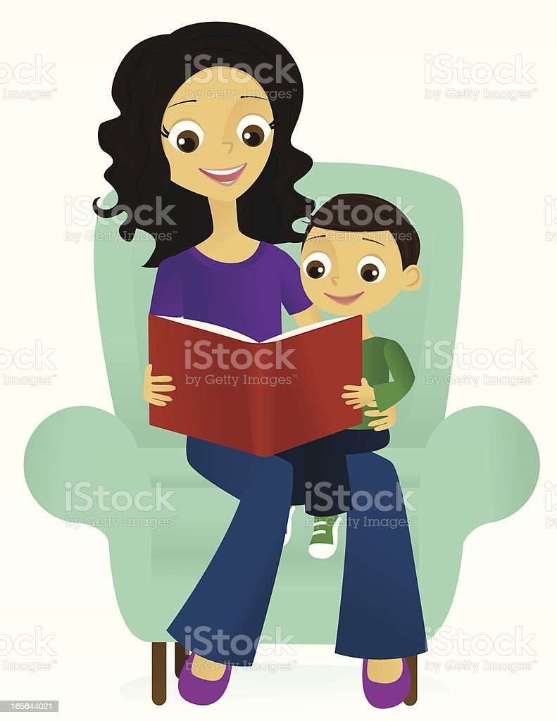 Mother and Son Reading vector art illustration