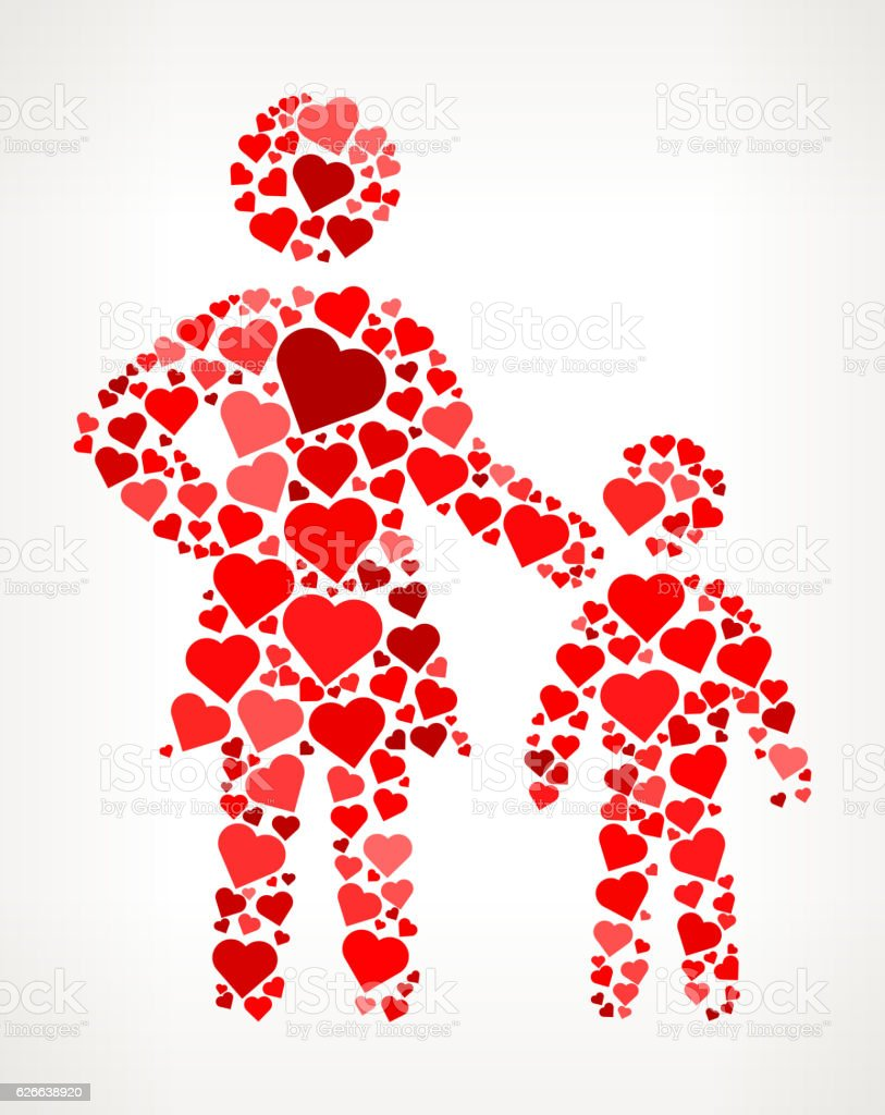 Mother and Son Red Hearts Love Pattern vector art illustration
