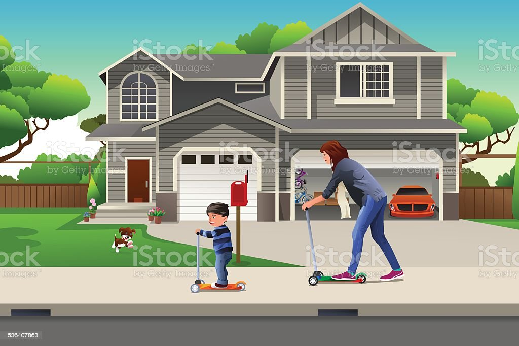 Mother and son riding a scooter together vector art illustration