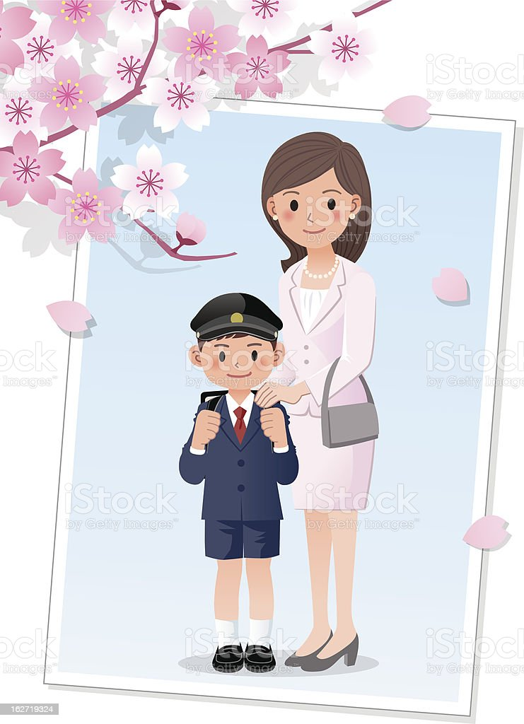 Mother and son under cherryblossom tree royalty-free stock vector art