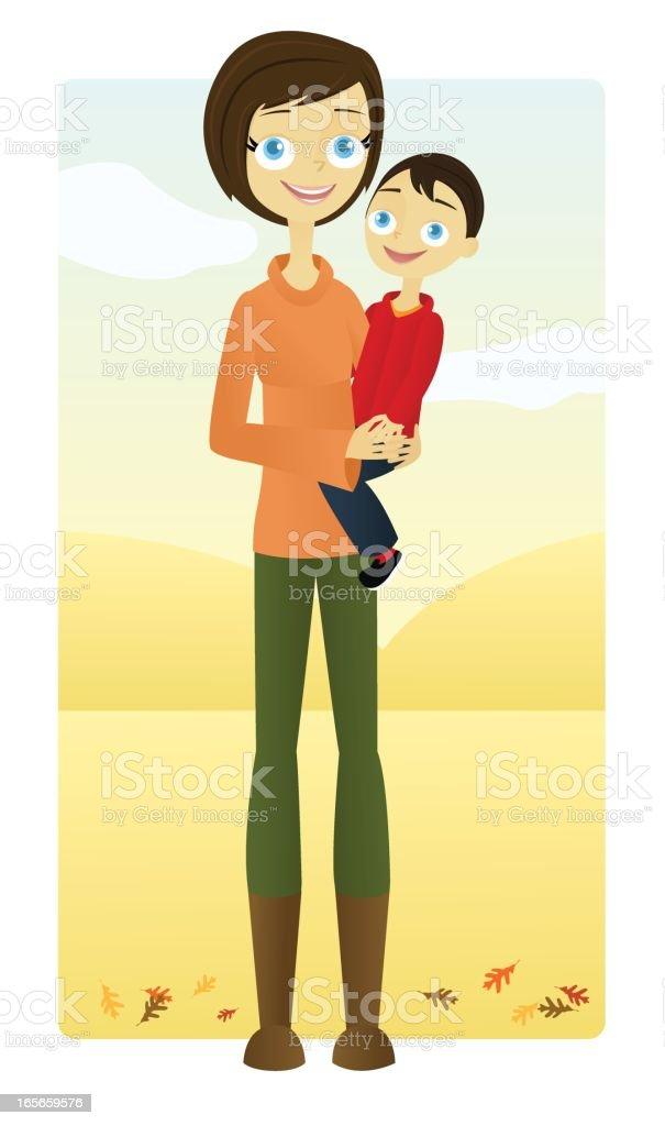 Mother and Son (Autumn) vector art illustration