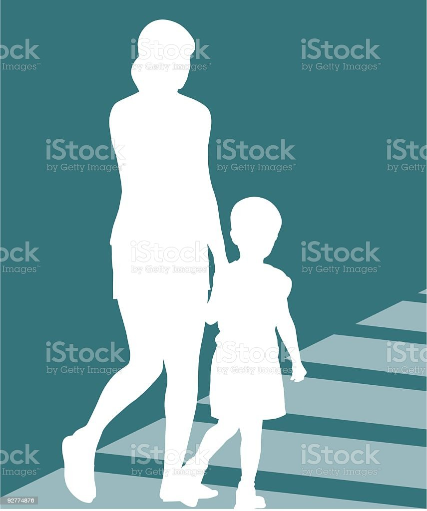 mother and son vector art illustration