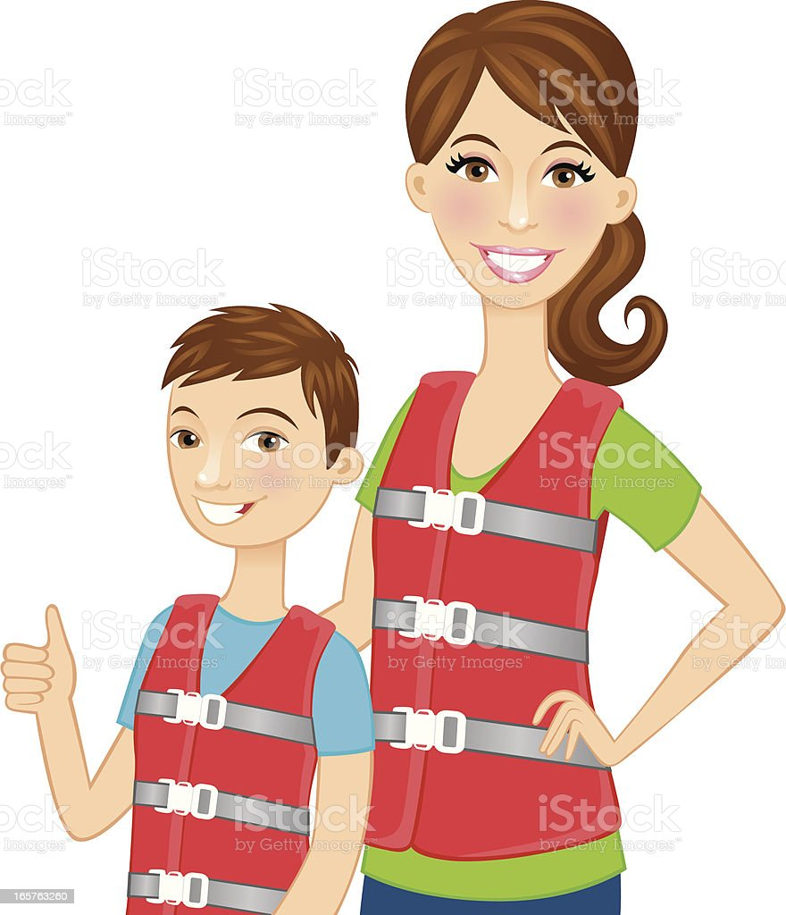 Mother and son wearing lifejackets royalty-free stock vector art