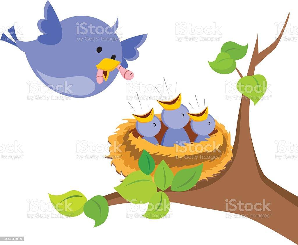 Mother bird love vector art illustration