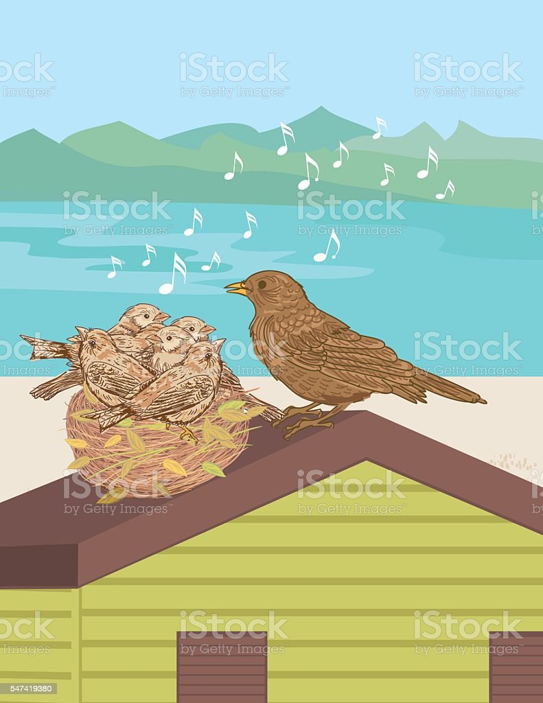 Mother Bird Sings To Her babies On A Beach Hut vector art illustration