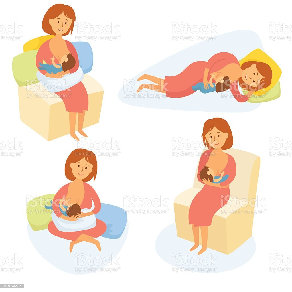 Mother breastfeeding baby vector art illustration