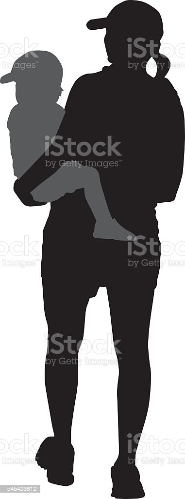 Mother Carrying Baby vector art illustration